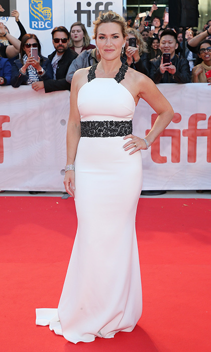 Kate Winslet was all glamour in a white gown with lace halter at the premiere of <I>The Mountain Between Us</I> on September 10.