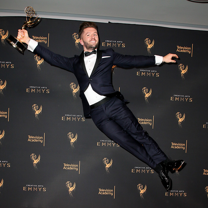 Dancer Travis Wall kicked up his heels after winning the Emmy for outstanding choreography for <I>So You Think You Can Dance</I>.