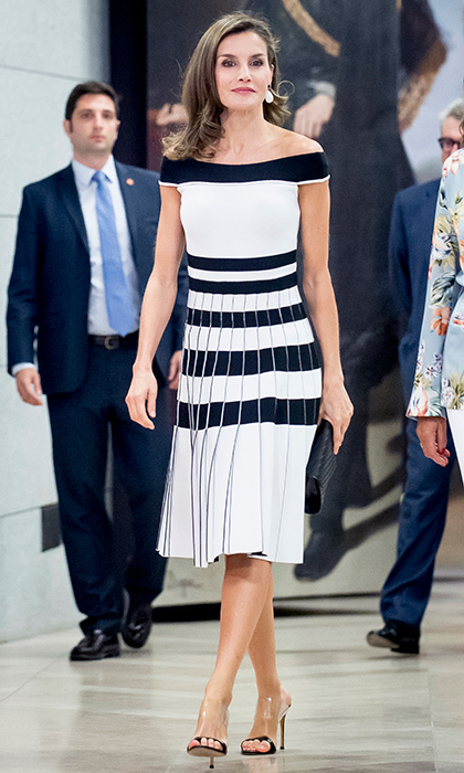 Queen Letizia donned this off-the-shoulder dress and transparent shoes at the 'Esmo 2017' conference in Madrid on September 7.