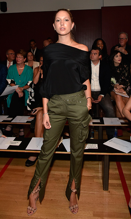 Earlier, the Greek royal rocked a military-inspired look at the Monse show at NYFW. 
