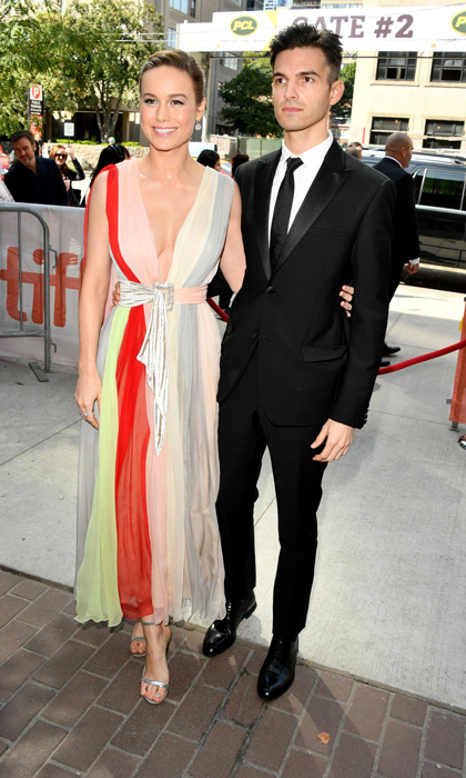 Brie Larson, in Schiaparelli Couture, showed off her directorial debut for her film <i>Unicorn Store</i> with her fianceé Alex Greenwald by her side.