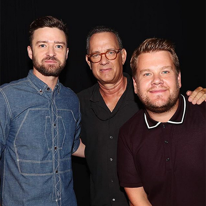 Hey guys, can we hang with you too? Justin Timberlake, Tom Hanks and James Corden were too cool for school at XQ Super School Live, presented by EIF, at Barker Hangar in Santa Monica. 