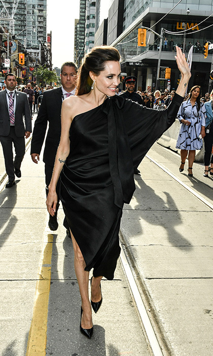 Angelina Jolie looked stunning in Ralph and Russo as she arrived for the screening of <I>First They Killed My Father</I> at Princess of Wales Theatre on September 11.