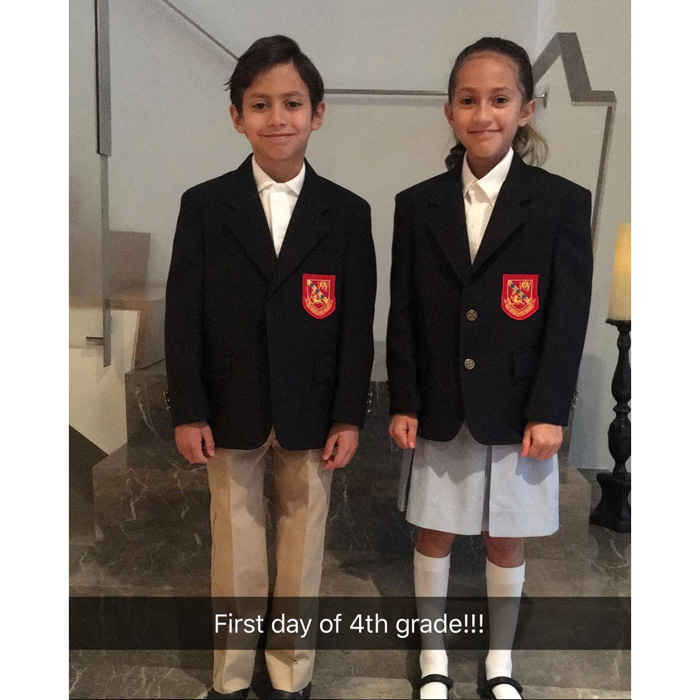 "Jennifer Lopez's twins started their first day of fourth grade on Thursday, September 7, and the proud mom took to her Instagram to celebrate. ""So proud of my babies…#notbabiesanymore #4thgrade #love,"" the 48-year-old captioned the picture of her nine-year-old son Max and daughter Emme twinning in their school blazers.