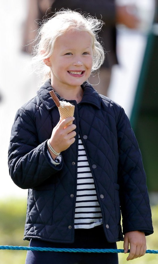 Whoops! Queen Elizabeth's great-granddaughter Savannah Phillips got ice cream on her nose during the Whatley Manor Horse Trials at Gatcombe Park.