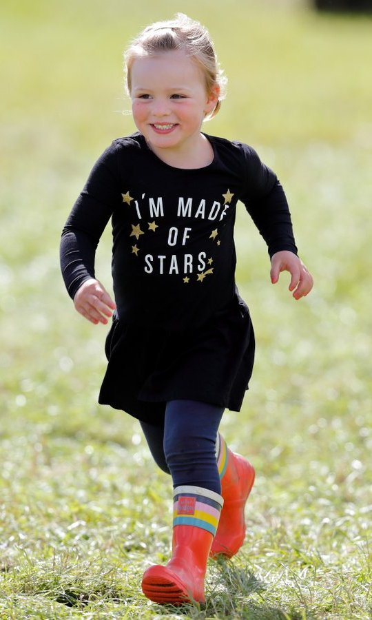 Little star Mia Tindall kept things bright with her fun rain boots at the Whatley Manor Horse Trials at Gatcombe Park on September 9 in Stroud, England. 