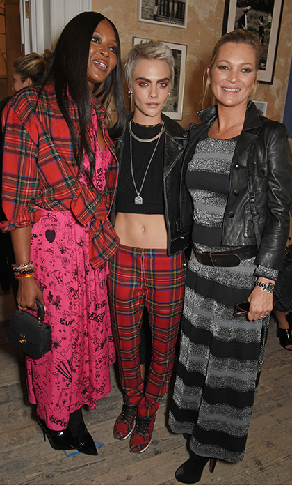 Supermodel summit! Naomi Campbell, Cara Delevingne and Kate Moss hit the FROW at Burberry at The Old Sessions House.