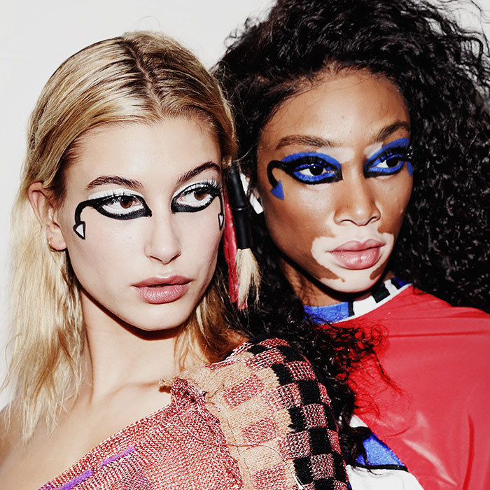 Models Hailey Baldwin, left, and Winnie Harlow were backstage ahead of the Fashion East show.