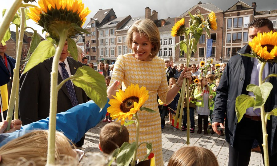 Queen Mathilde was a ray of sunshine amidst sunflowers during her stop to the Eurofleurs 2017 Championship in Saint-Trond, Belgium on September 15.