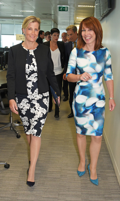 Countess Sophie of Wessex wore a black and white floral dress with a black blazer to the BGC Charity Day on September 11, 2017.