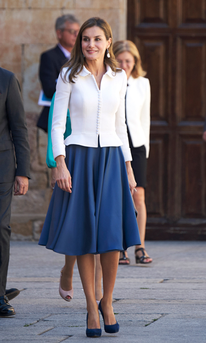 Queen Letizia looked very academic at the opening of the Scholar University school year at the Salamanca University one day ahead of her 45th birthday on September 14.