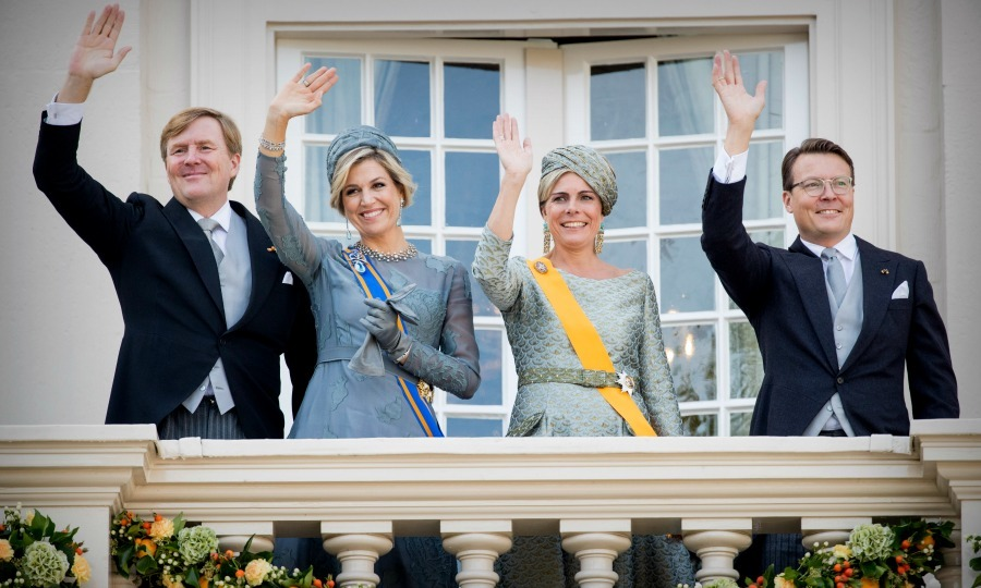It's a royal celebration! King Willem-Alexander, Queen Maxima, Princess Laurentien, and Prince Constantijn waved from the balcony of Palace Noordeinde during Prince's Day on September 19.