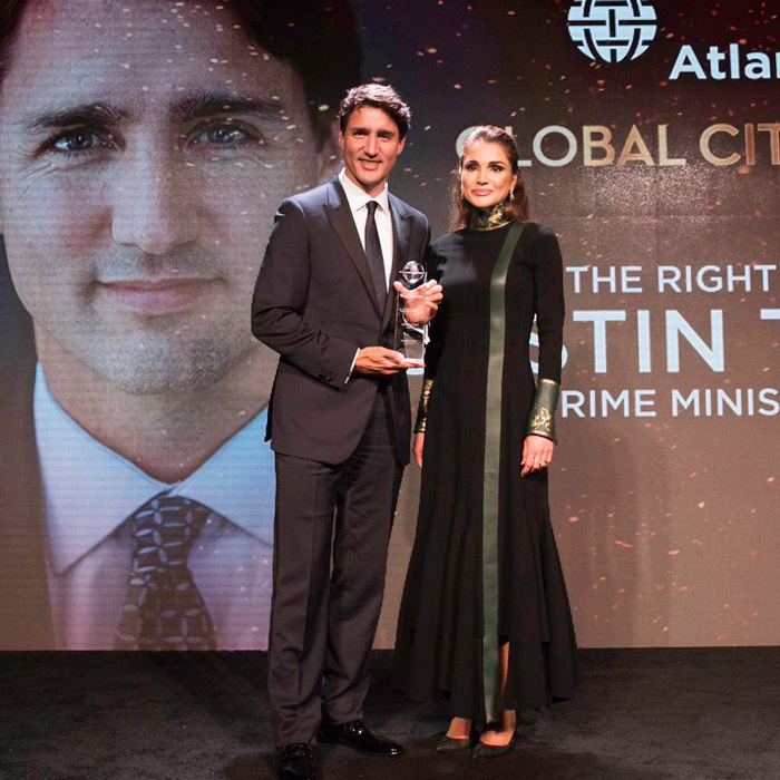 "Queen Rania of Jordan took to her Instagram account to share a photo with Canada's Prime Minister Justin Trudeau, which she captioned: ""Delighted to return to the Global Citizen Awards to present an award to Prime Minister @justinpjtrudeau, who has responded to the global refugee crisis with moral authority and compassion #ACAwards #Jordan #LoveJO #USA #NewYork.""