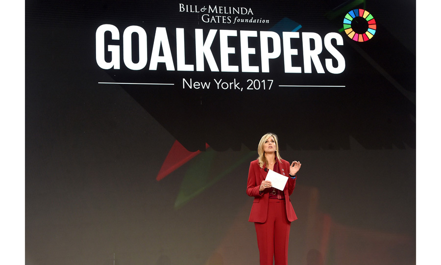 Queen Maxima of the Netherlands spoke on stage at the Goalkeepers 2017 event held at the Jazz at Lincoln Center on September 20. Goalkeepers is organized by the Bill & Melinda Gates Foundation to highlight progress against global poverty and disease, showcase solutions to help advance the Sustainable Development Goals and foster bold leadership to help accelerate the path to a more prosperous, healthy and just future.