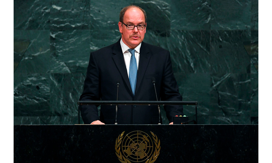 Monaco's Prince Albert (with his new mustache) addressed the 72nd session of the United Nations General Assembly at the UN headquarters in New York on September 19.