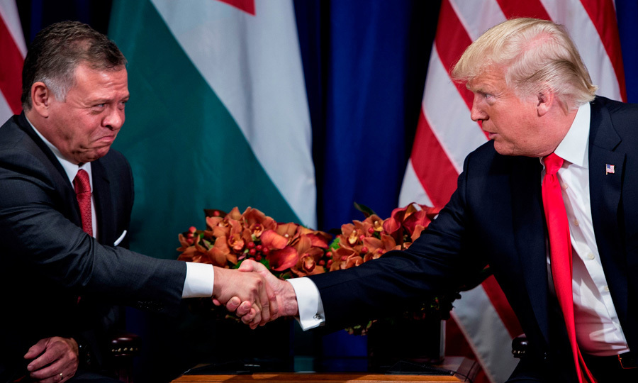 "Jordan's King Abdullah II shook hands with US President Donald Trump before a meeting at the Palace Hotel in New York. Following the meeting, the monarch tweeted, ""President Trump @POTUS is a true friend and partner. You can count on us working together for peace and stability.""