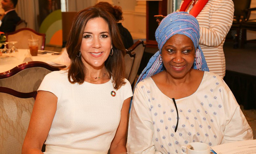 "Crown Princess Mary posed for a photo with the director of UN Woman and former vice president of South Africa Phumzile Mlambo-Ngcuka during the ""Deliver for Good: Inspiring SDG Action for Girls and Women"" conference.