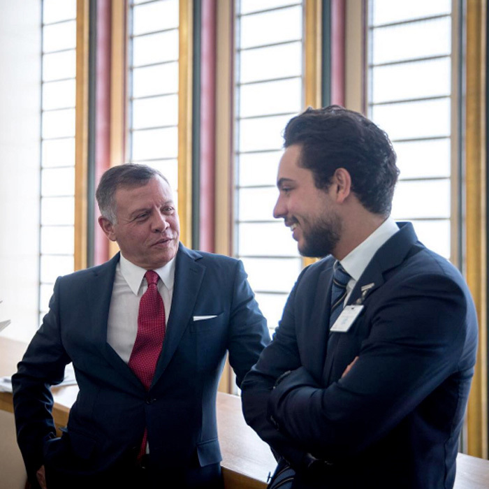 His Majesty King Abdullah II and Crown Prince Al Hussein enjoyed a quiet father-son moment at the UN Headquarters in New York.