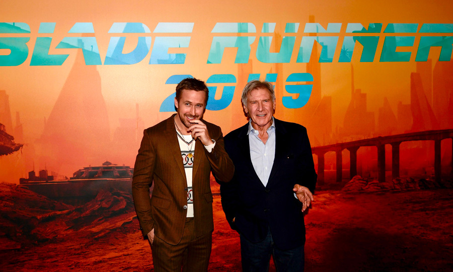 Harrison Ford and Ryan Gosling shared a laugh during the photocall for their latest film <i>Blade Runner 2049</i> in France.