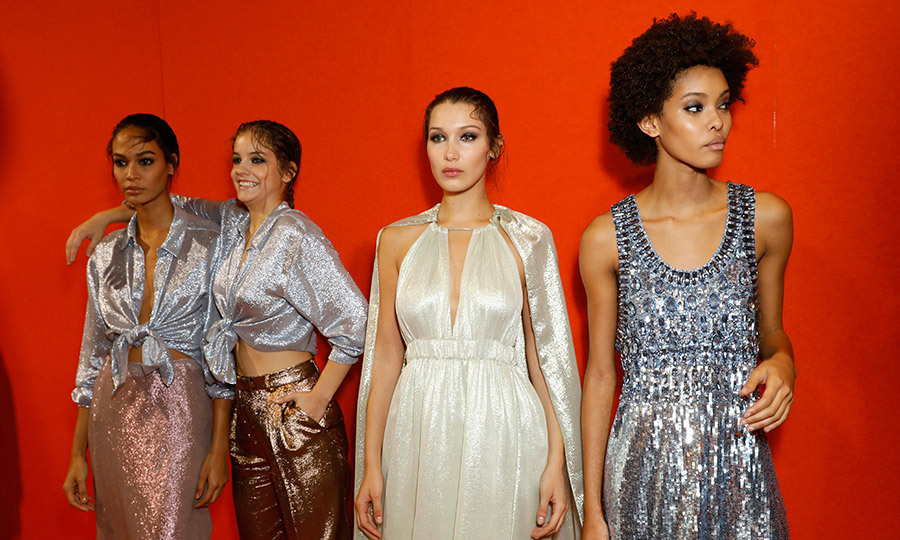 Sparkling for Alberta Ferretti backstage were, left to right, red hot models Joan Smalls, Barbara Palvin, Bella Hadid and Samile Bermannelli.