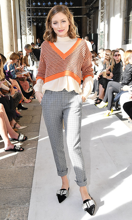 Trend-setting fashionista Olivia Palermo opted for prim and preppy at the Max Mara show.