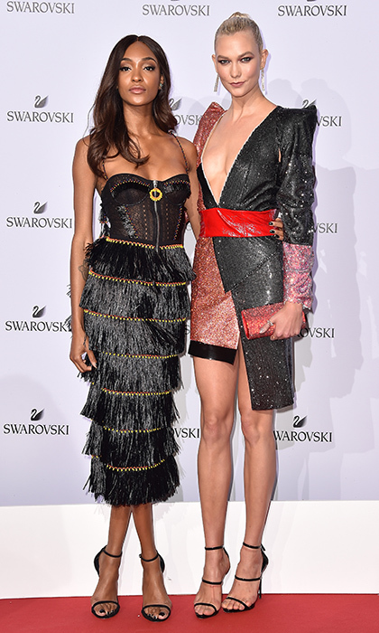 Supermodels Jourdan Dunn and Karlie Kloss hit the red carpet at the Swarovski Crystal Wonderland Party.
