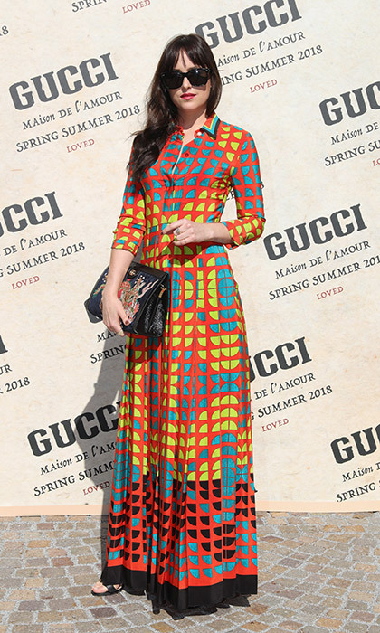 There were many shades – but no grey! – as Dakota Johnson made a colorful appearance at the Gucci presentation.