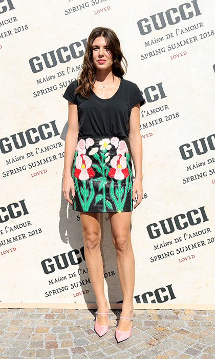 Monaco royal Charlotte Casiraghi looked characteristically chic in an embroidered mini and pink pointed shoes at the Gucci show.