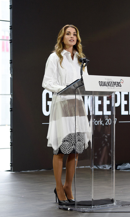 Queen Rania of Jordan took the stage during the Goalkeepers 2017 meeting. The organization helps encourage world leaders to remain focused on working towards UN sustainable development goals and the advancement of the world.