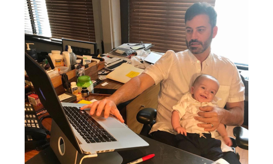 Jimmy Kimmel's son Billy gave him support as he wrote the show's opening monolgue. The late night host shared the photo of his and Molly's baby boy two days ahead of his five-month birthday on September 21. 