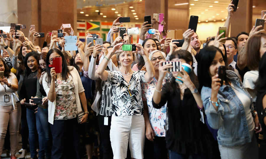 A number of royal fans and female admirers waited to catch a glimpse of the ginger-haired Prince at Scotia Plaza during Harry's pre-Invictus Games event.