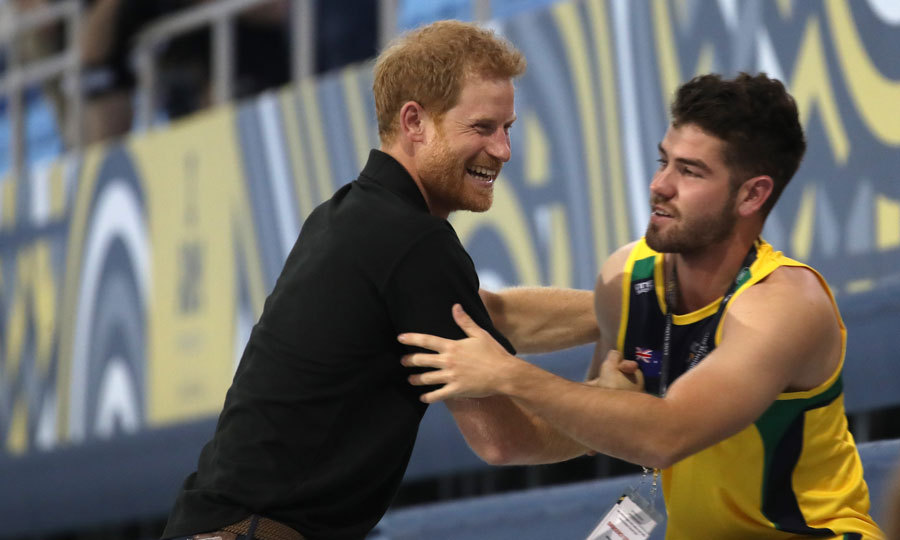 Friendly competition! Harry warmly greeted this competitor during the pre-Invictus Games training session.