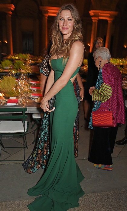 Gisele Bundchen was on the guest list for a private dinner hosted by Livia Firth – wife of actor Colin Firth – following the Green Carpet Fashion Awards, Italia, at Palazzo Marino.