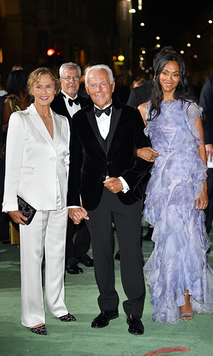 Legendary designer Giorgio Armani had two beauties on his arm – Lauren Hutton, left, and Zoe Saldana – at the Green Carpet Fashion Awards Italia 2017 on September 24.
