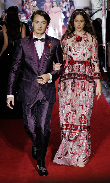 Star offspring ruled at Dolce & Gabbana's millennial-themed secret show. Here, Pamela Anderson's son Brandon Thomas Lee on the runway with <I>Assassin's Creed</I> actress Coco Konig.