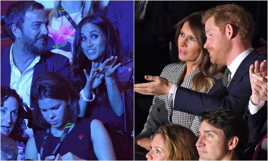 As Prince Harry chatted to Melania Trump, Meghan was 18 seats away with her good friend.