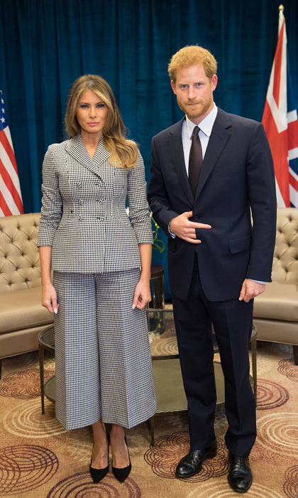 Melania wore a chic houndstooth suit by Dior for her meeting with Prince Harry during the 2017 Invictus Games on September 23. The first lady led the United States delegation to the royal's third annual Paralympic-style sporting competition in Toronto.