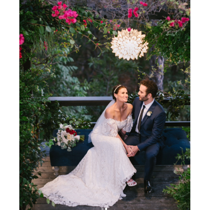 "<b>Idina Menzel and Aaron Lohr</b> The two <i>Rent</i> co-stars are now newlyweds. The 46-year-old stunned in a Carolina Herrera gown as she walked down the aisle toward her ""love of my life"" with photographers Amy & Stuart capturing the moment. The <i>Wicked</i> star and the 41-year-old have been together since 2015 and got engaged last year. Previously, Idina was married to Taye Diggs and they share a son Walker, 7. The mom-of-one took to Instagram to announce the news of their special day. ""Wanted to let you know... married the love of my life Aaron Lohr this weekend at our home. Dad & son walked me down the aisle. It was magical. Thank you to everyone who helped make my wedding day so special."" Photo: Instagram/@idinamenzel"