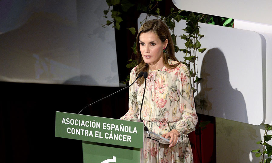 Queen Letizia was floral perfection as she delivered a speech during Cancer Research World Day in Madrid on September 22.