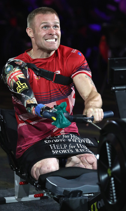 Team UK's Mark Ormrod put on his game face as he competed in the indoor rowing competition. The veteran is the UK's first triple amputee to survive the Afghanistan conflict.