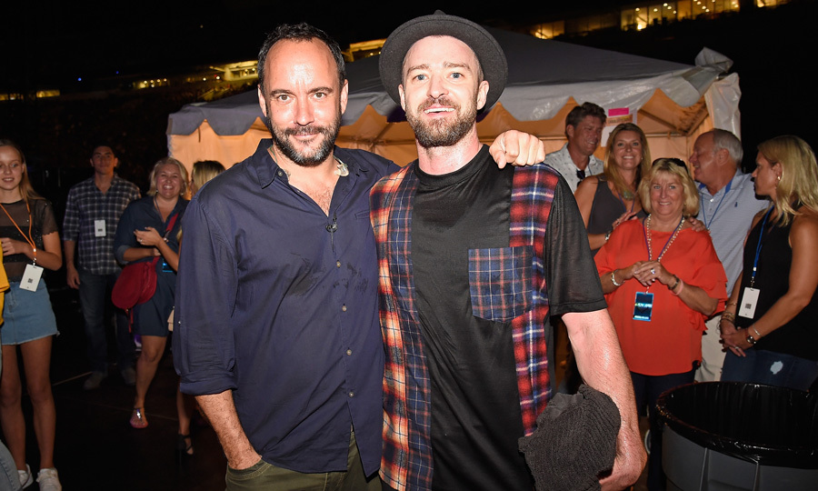 Justin Timberlake and Dave Matthews posed together for a photo at the Concert for Charlottesville at the University of Virginia on September 24.