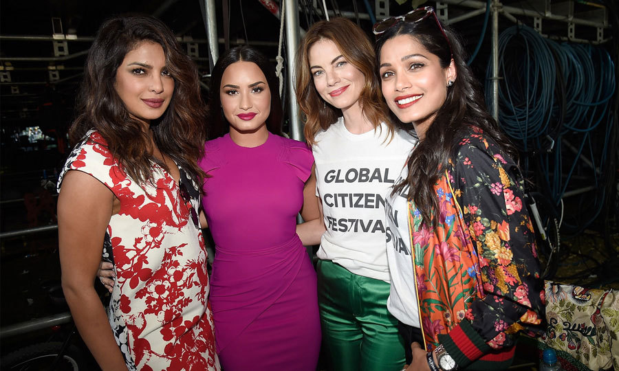 Ladies on a mission! Priyanka Chopra, Demi Lovato, Michelle Monaghan and Freida Pinto came together at the 2017 Global Citizen Festival in New York. The festival serves as a platform for citizens to demand that world leaders fulfill their obligation to take a stand around issues like education, food security, healthcare, gender equality, and sanitation.