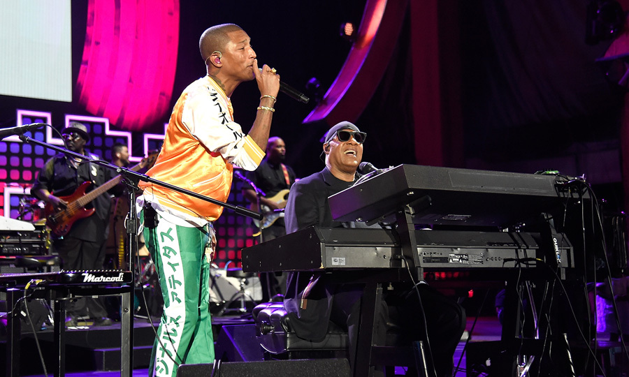 Pharrell and Stevie Wonder teamed up for a duet during the 2017 Global Citizen Festival in New York's Central Park.