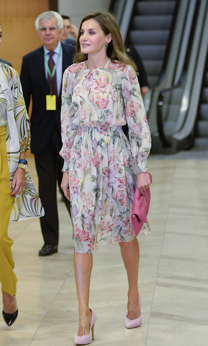 Queen Letizia made a floral statement as she stepped out for the 'Cancer Research World Day' event at El Prado Museum.