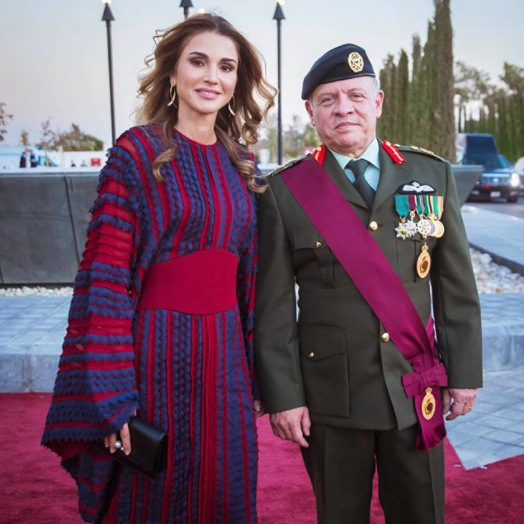 Queen Rania of Jordan shared this photo of herself with husband King Abdullah II on Instagram as the two stepped out for the annual flag parade, held at the Royal Hashemite Court's Al Rayah parade grounds.