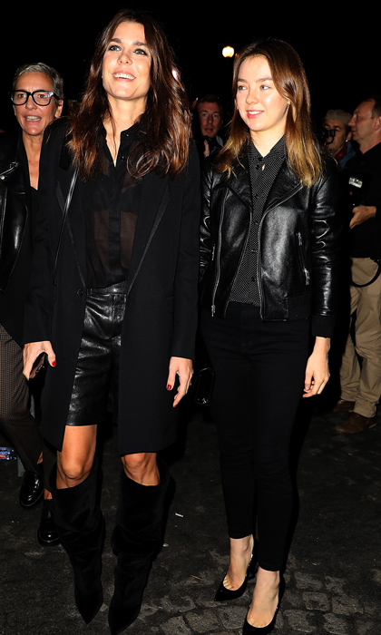 Princess Caroline of Monaco's daughters — Charlotte Casiraghi and Princess Alexandra — put on an edgy display as they stepped out on September 26 to attend the Saint Laurent show during Paris Fashion Week. The stylish sisters coordinated in chic black ensembles for their night out on the town.