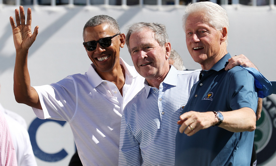 Hail to the chiefs! Former presidents Barack Obama, George W Bush and Bill Clinton did some post-White House bonding on Day One of the Presidents Cup 2017 golf tournament at the Liberty National Golf Course in Jersey City, NJ.
