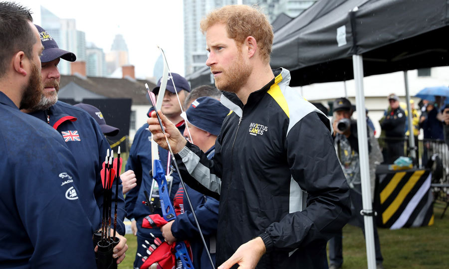 The Prince, who sported an Invictus Games jacket, tried his hand at the sport. Harry also made rounds and talked to the competitors and their family members during the competition. 