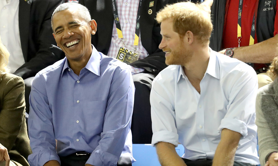 Prince Harry made the former president crack up as they watched the basketball game.