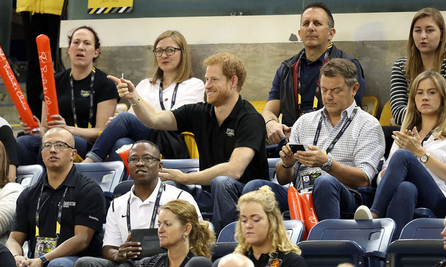 No, you da man! Prince Harry animatedly watched the Wheelchair Basketball final game.